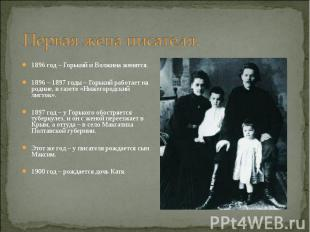 1896 год – Горький и Волжина женятся. 1896 год – Горький и Волжина женятся. 1896