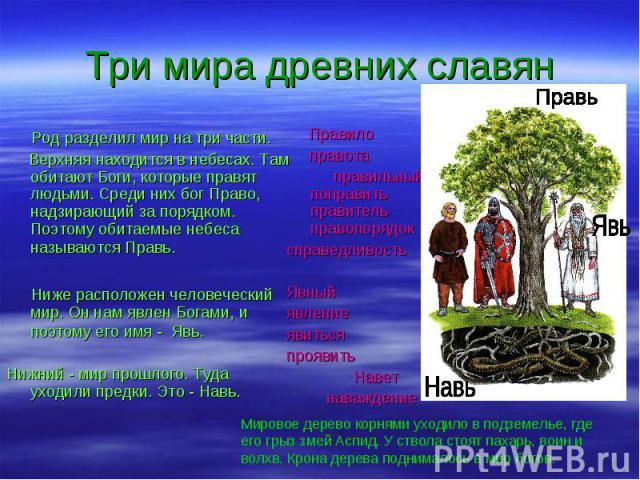 Род разделил мир на три части. Род разделил мир на три части. Верхняя находится в небесах. Там обитают Боги, которые правят людьми. Среди них бог Право, надзирающий за порядком. Поэтому обитаемые небеса называются Правь. Ниже расположен человеческий…