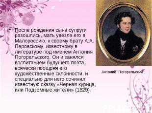 После рождения сына супруги разошлись, мать увезла его в Малороссию, к своему бр