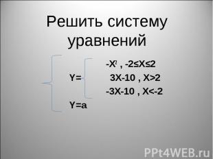 -X2 , -2≤X≤2 -X2 , -2≤X≤2 Y= 3X-10 , X>2 -3X-10 , X<-2 Y=a