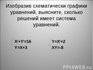 X2+Y2=16 Y=X2+2 Y=X+3 XY=-8
