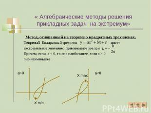 Метод, основанный на теореме о квадратных трехчленах. Метод, основанный на теоре