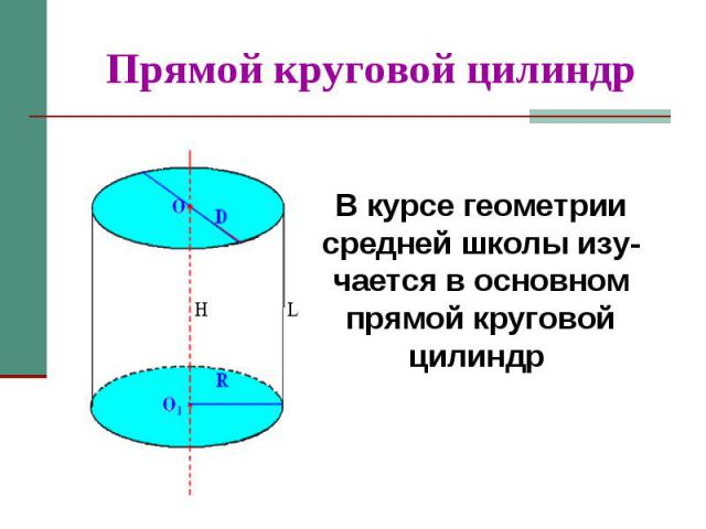 Прямой круговой цилиндр