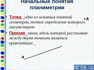 Точка одно из основных понятий геометрии, точное определение которого отсутствуе