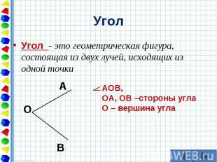 Угол - это геометрическая фигура, состоящая из двух лучей, исходящих из одной то