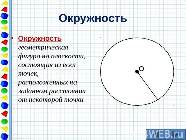Окружность геометрическая фигура на плоскости, состоящая из всех точек, расположенных на заданном расстоянии от некоторой точки Окружность геометрическая фигура на плоскости, состоящая из всех точек, расположенных на заданном расстоянии от некоторой точки