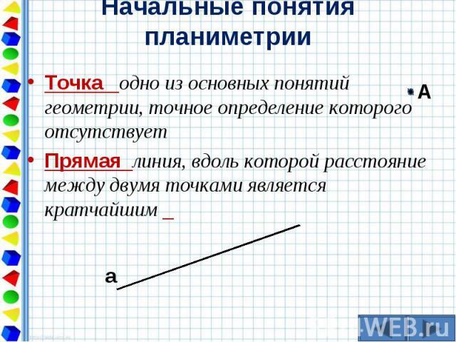 Точка одно из основных понятий геометрии, точное определение которого отсутствует Точка одно из основных понятий геометрии, точное определение которого отсутствует Прямая линия, вдоль которой расстояние между двумя точками является кратчайшим