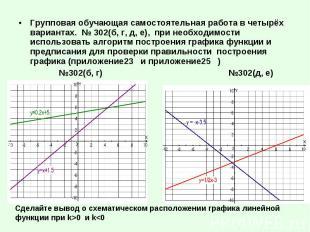 Групповая обучающая самостоятельная работа в четырёх вариантах. № 302(б, г, д, е
