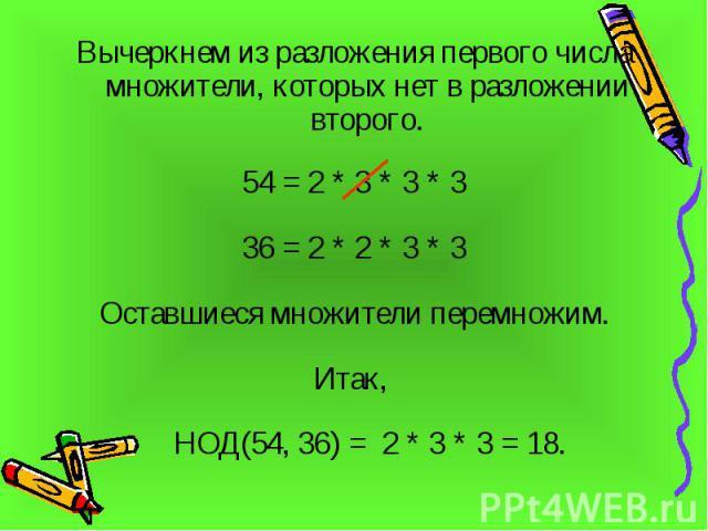 Вычеркнем из разложения первого числа множители, которых нет в разложении второго. Вычеркнем из разложения первого числа множители, которых нет в разложении второго. 54 = 2 * 3 * 3 * 3 36 = 2 * 2 * 3 * 3 Оставшиеся множители перемножим. Итак, НОД(54…