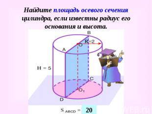 Найдите площадь осевого сечения цилиндра, если известны радиус его основания и в