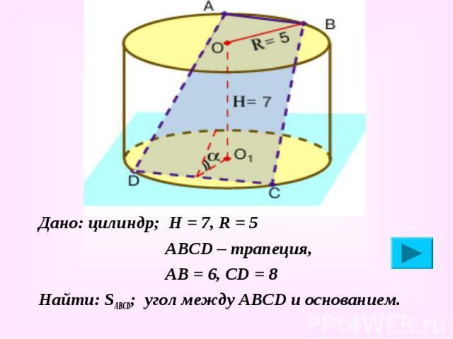 Дано: цилиндр; Н = 7, R = 5 Дано: цилиндр; Н = 7, R = 5 АВСD – трапеция, АВ = 6, СD = 8 Найти: SABCD; угол между АВСD и основанием.