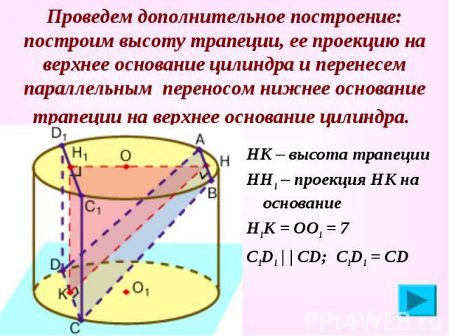 Проведем дополнительное построение: построим высоту трапеции, ее проекцию на верхнее основание цилиндра и перенесем параллельным переносом нижнее основание трапеции на верхнее основание цилиндра. НК – высота трапеции НН1 – проекция НК на основание Н…