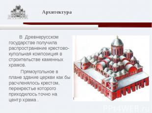 В Древнерусском государстве получила распространение крестово-купольная композиц