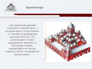 Над храмовым зданием сооружали главный купол, с которым могло соседствовать от ч