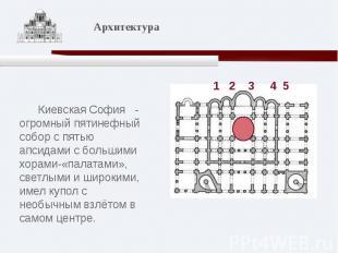 Киевская София - огромный пятинефный собор с пятью апсидами с большими хорами-«п