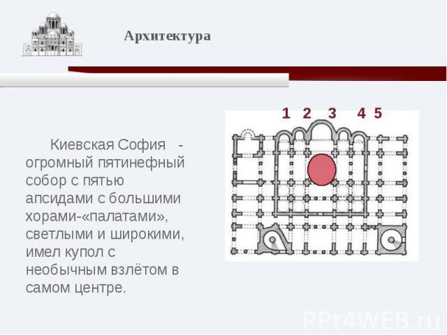 Киевская София - огромный пятинефный собор с пятью апсидами с большими хорами-«палатами», светлыми и широкими, имел купол с необычным взлётом в самом центре.