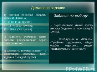 Домашнее задание 1) Краткий пересказ событий жизни И. Флягина: 2 – 8 гл. (1-ая г