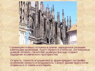 Стремящиеся ввысь колонны и шпили, украшенные резными каменными кружевами, будто