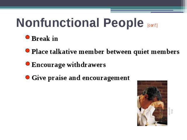 Nonfunctional People (con't)