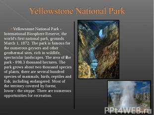 Yellowstone National Park - International Biosphere Reserve, the world