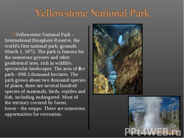 Yellowstone National Park - International Biosphere Reserve, the world's first national park, grounds March 1, 1872. The park is famous for the numerous geysers and other geothermal sites, rich in wildlife, spectac…