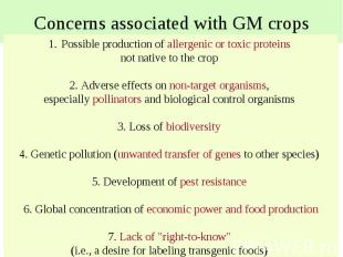 Concerns associated with GM crops