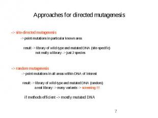 Approaches for directed mutagenesis -> site-directed mutagenesis -> point