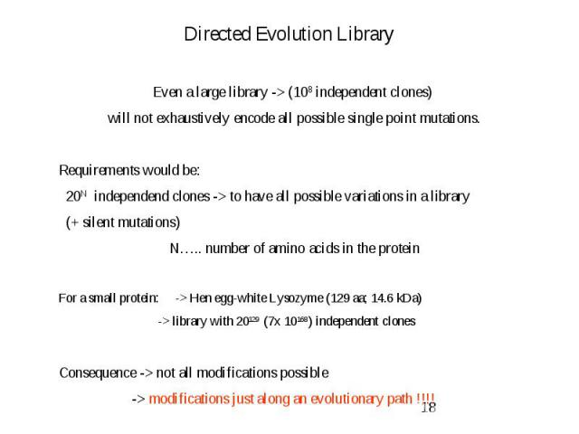 Directed Evolution Library