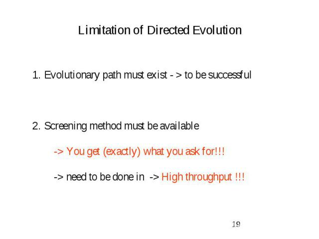 Limitation of Directed Evolution