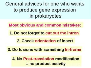 General advices for one who wants to produce gene expression in prokaryotes