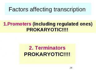 Factors affecting transcription