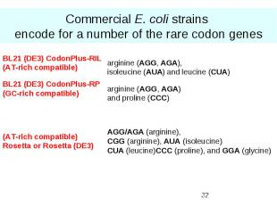Commercial E. coli strains encode for a number of the rare codon genes