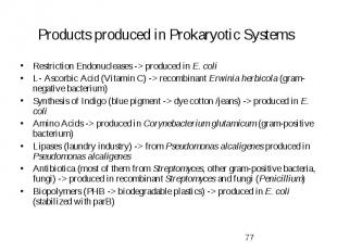 Products produced in Prokaryotic Systems Restriction Endonucleases -> produce