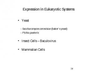 Expression in Eukaryotic Systems Yeast - Saccharomyces cerevisiae (baker's yeast