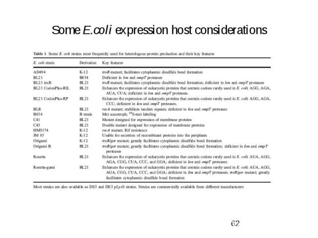 Some E.coli expression host considerations