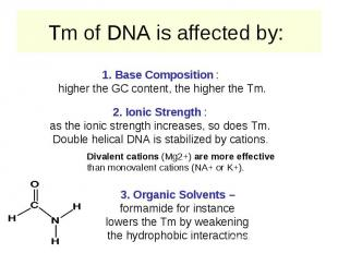Tm of DNA is affected by: