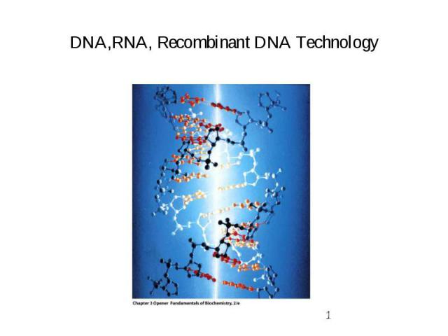 DNA,RNA, Recombinant DNA Technology