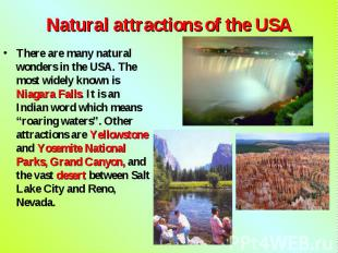 There are many natural wonders in the USA. The most widely known is Niagara Fall