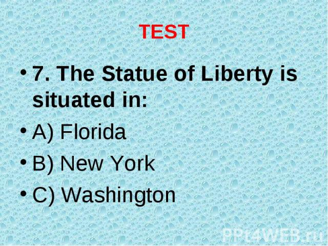 7. The Statue of Liberty is situated in: 7. The Statue of Liberty is situated in: A) Florida B) New York C) Washington