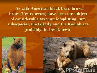 As with American black bear, brown bears (Ursus arctos) have been the subject of