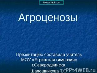 Агроценозы Презентацию составила учитель МОУ «Ягринская гимназия» г.Северодвинск