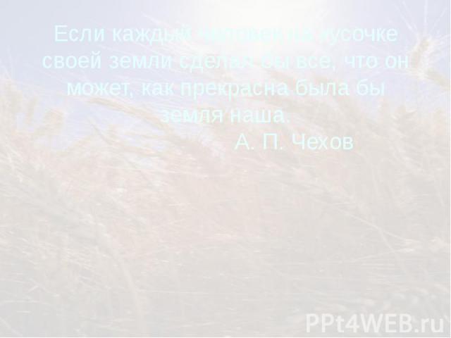 Если каждый человек на кусочке своей земли сделал бы все, что он может, как прекрасна была бы земля наша. А. П. Чехов