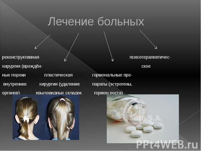 Лечение больных реконструктивная психотерапевтичес- хирургия (врождён- ское ные пороки пластическая гормональные пре- внутренних хирургия (удаление параты (эстрогены, органов) крыловидных складок гормон роста) и т.д.)