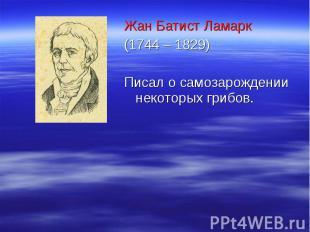 Жан Батист Ламарк Жан Батист Ламарк (1744 – 1829) Писал о самозарождении некотор