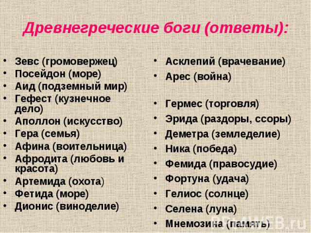 Зевс (громовержец) Зевс (громовержец) Посейдон (море) Аид (подземный мир) Гефест (кузнечное дело) Аполлон (искусство) Гера (семья) Афина (воительница) Афродита (любовь и красота) Артемида (охота) Фетида (море) Дионис (виноделие)