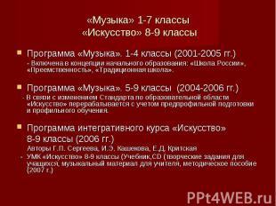 Программа «Музыка». 1-4 классы (2001-2005 гг.) Программа «Музыка». 1-4 классы (2