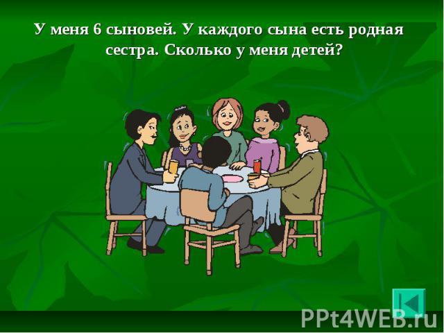 У меня 6 сыновей. У каждого сына есть родная сестра. Сколько у меня детей? У меня 6 сыновей. У каждого сына есть родная сестра. Сколько у меня детей?