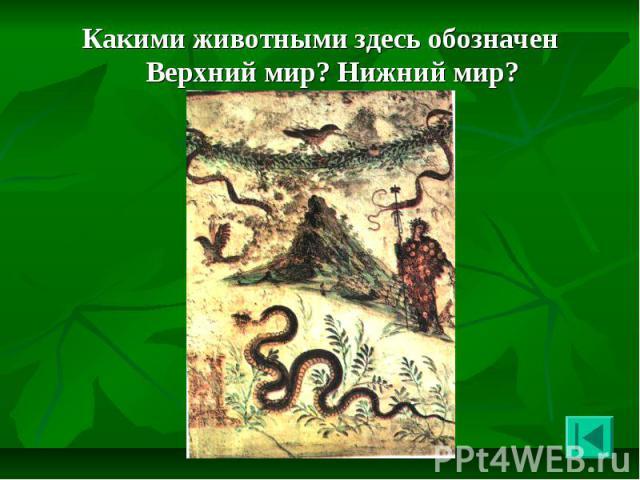 Какими животными здесь обозначен Верхний мир? Нижний мир? Какими животными здесь обозначен Верхний мир? Нижний мир?