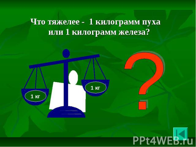 Что тяжелее - 1 килограмм пуха или 1 килограмм железа? Что тяжелее - 1 килограмм пуха или 1 килограмм железа?