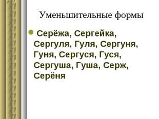Уменьшительные формы Серёжа, Сергейка, Сергуля, Гуля, Сергуня, Гуня, Сергуся, Гу